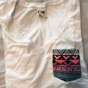PINK white tee with patterned pocket
